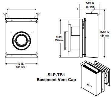 SLP-TB1 Horizontal Snorkel Cap for Basement Application