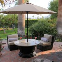 San Simeon Chat Height Multifunctional Gas Logs Fire Pit Table