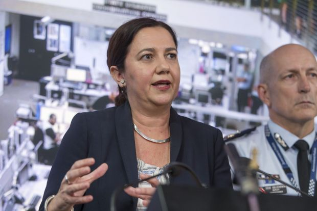 Queensland Premier Annastacia Palaszczuk speaks to the media at the State Disaster Coordination Centre.