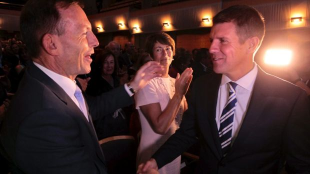 Opposing propositions: Tony Abbott the polariser and Mike Baird the likeable.