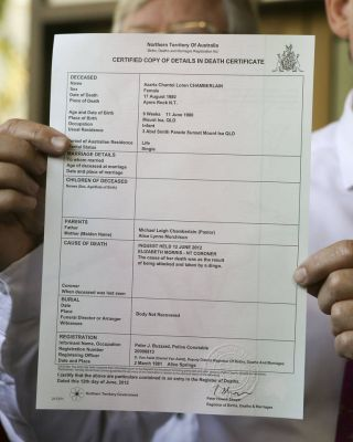 The ammended death certificate of Azaria Chamberlain who dissapeared in 1982, cause of death by Dingo.Pic Glenn Campbell