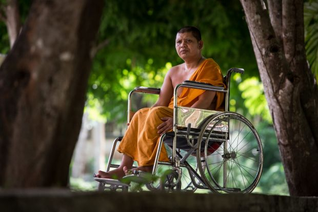 In a wheelchair for life. Buddhist Monk Pra Suchart, 40, one of two monks injured in a drive-by shooting four years ago. A third monk was killed in the same attack. Pra Suchart says he does not feel anger towards those who shot him. Attacks on such random targets can follow claims by insurgents of extra-judicial killings by the security forces.