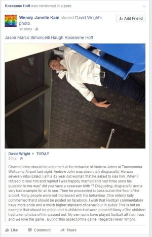 Bad form: The Facebook post of Andrew Johns asleep in Toowoomba Airport with a comment by the poster.