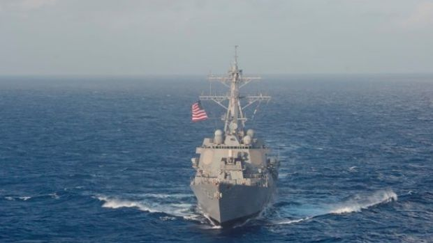 The US Navy guided-missile destroyer USS Lassen, in the South Cina Sea.