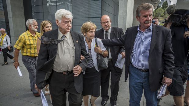 Geoff and Priscilla Dickie, Alison Baden-Clay's parents, leave Brisbane Supreme Court after the appeal decision.