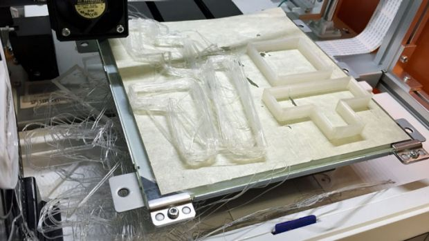 A failed attempted to print Tetris cookie cutters – objects in the front left corner broke free from the print bed mid-print after I raised the Z offset to stop the nozzle scrapping at the rear right.