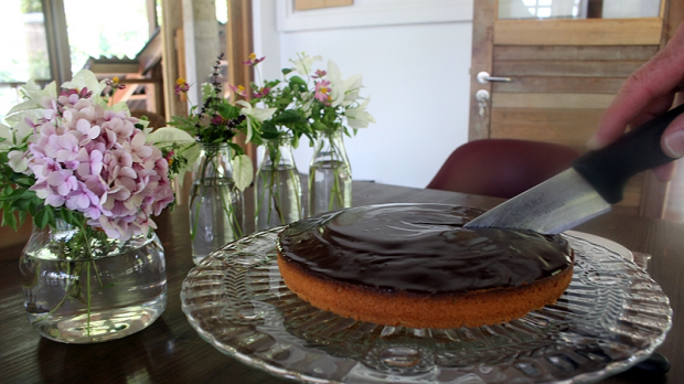 Dessert: Orange and chocolate cake.