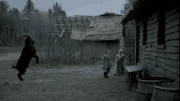 Do not pet: A troublesome goat harasses two farm children in the superb horror film The Witch.