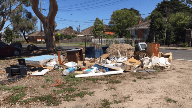 Rubbish dumped on a vacant lot in Albion.