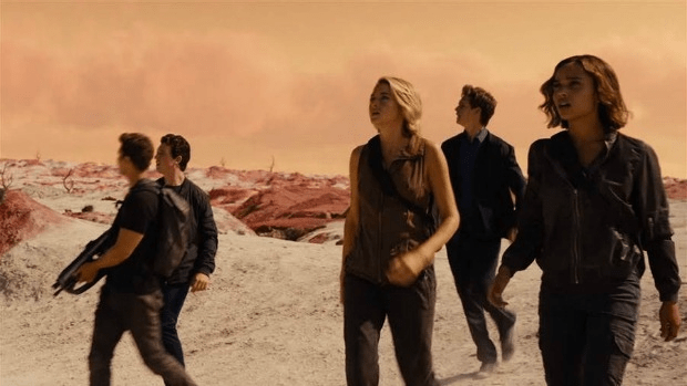 In search if meaning: Tris (Shailene Woodley) leads her rebel pals through the wasteland in Allegiant.