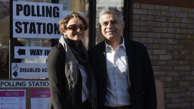 Sadiq Khan and his wife, Saadiya, after casting their votes in London's mayoral elections. Mr Khan went on to win the ballot.