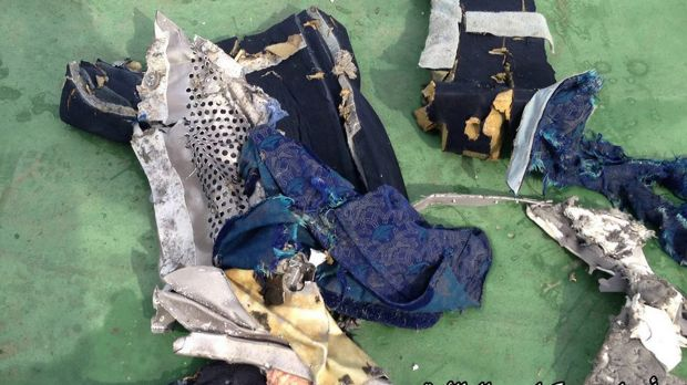 Images posted on the Egyptian Armed Forces' official Facebook page show the mangled seat debris from EgyptAir flight ...