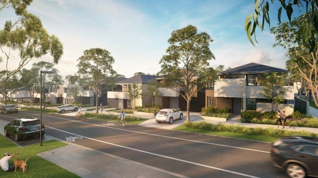 An artist's impression shows homes in the YarraBend development that will have Tesla batteries as part of a ...