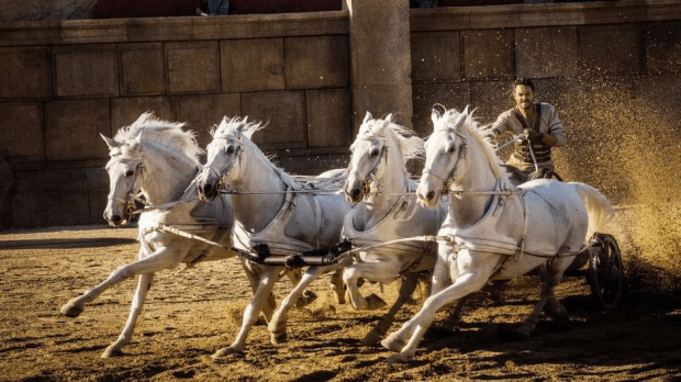 Horse play: The famous chariot race from the 1959 film is recreated with added vividness and scale in the new version.