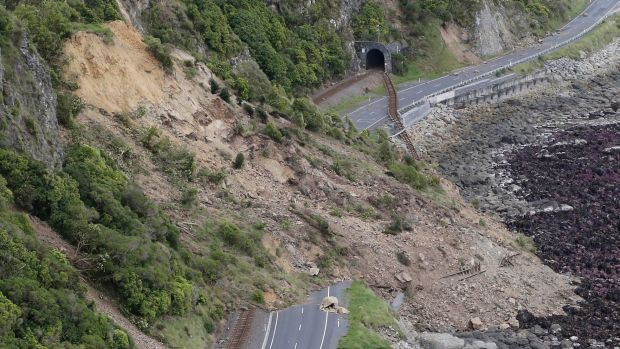 A landslide blocks State Highway One and the main trunk railway line north of Kaikoura following an earthquake in New ...