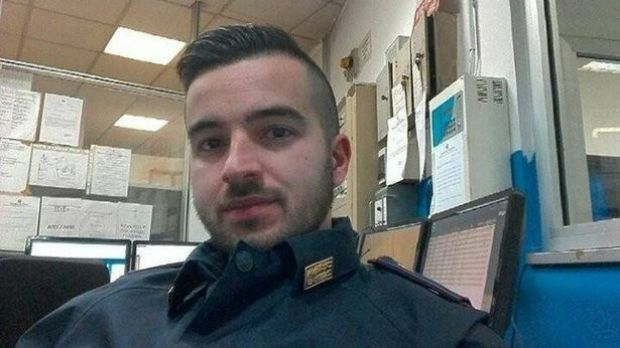 Hero: Trainee cop Luca Scata, 29, who shot dead the Berlin attacker.