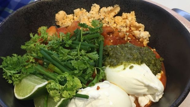 Horisso Beans: Shanklish, spiked green sauce, soft herbs, poached eggs, toast.