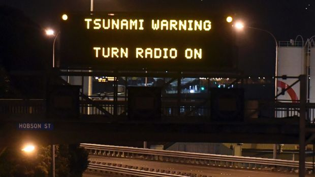 A tsunami warning is displayed on a motorway in Wellington after a major earthquake struck New Zealand in November.