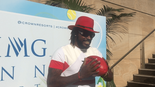 Chris Gayle at the IMG Tennis Party.