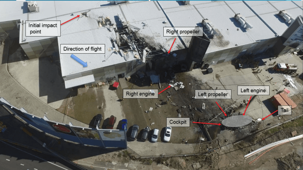 The Essendon crash site overview.