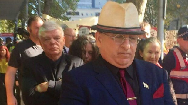 Extremist and online troll Nathan Sykes (in front) and chairman of the Australia First party, Jim Saleam (behind) ...