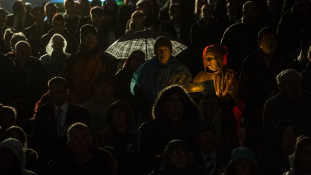 The dawn crowd at this year's Anzac Day service.