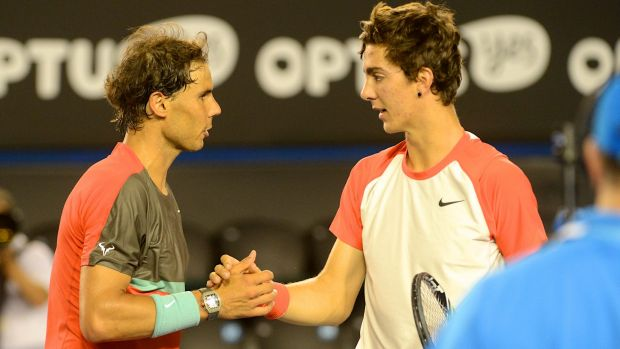Thanasi Kokkinakis lost to Rafael Nadal at the Australian Open in 2014.