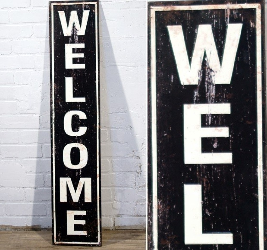 Rustic Metal Welcome Sign from Antique Farmhouse