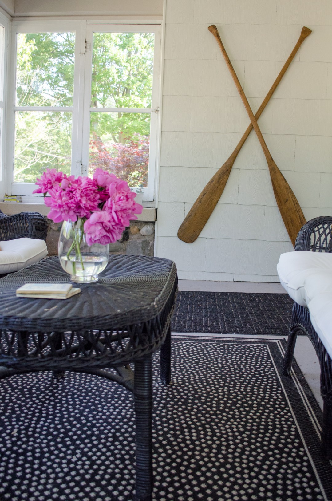 Ballard Designs Marina Rug on Porch