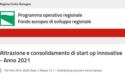 Bando regionale per l'Attrazione e consolidamento di start up innovative – Anno 2021