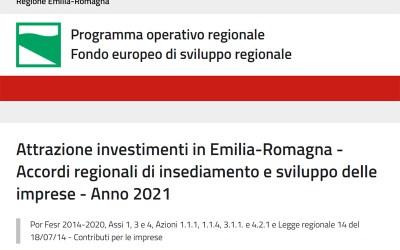 Bando regionale per l'attrazione degli investimenti in Emilia-Romagna – accordi regionali di insediamento e sviluppo delle imprese – Anno 2021