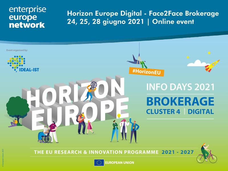 """Horizon Europe Digital – Face2Face Brokerage"" 24, 25, 28 June 2021 Online event"