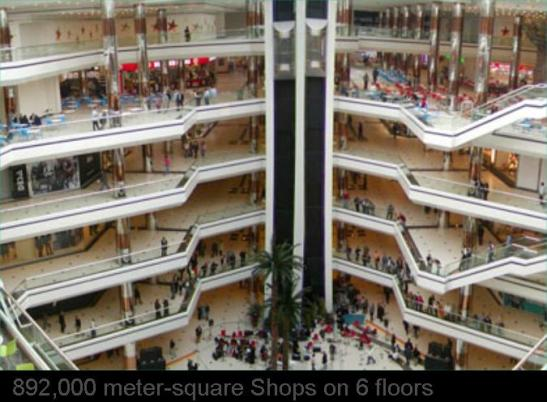 892,000 meter-square Shops on 6 floors, South China Mall, Dongguan, China