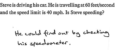 Steve is driving his car. He is travelling at 60 feet/second and the speed limit is 40 mph. Is Steve speeding?