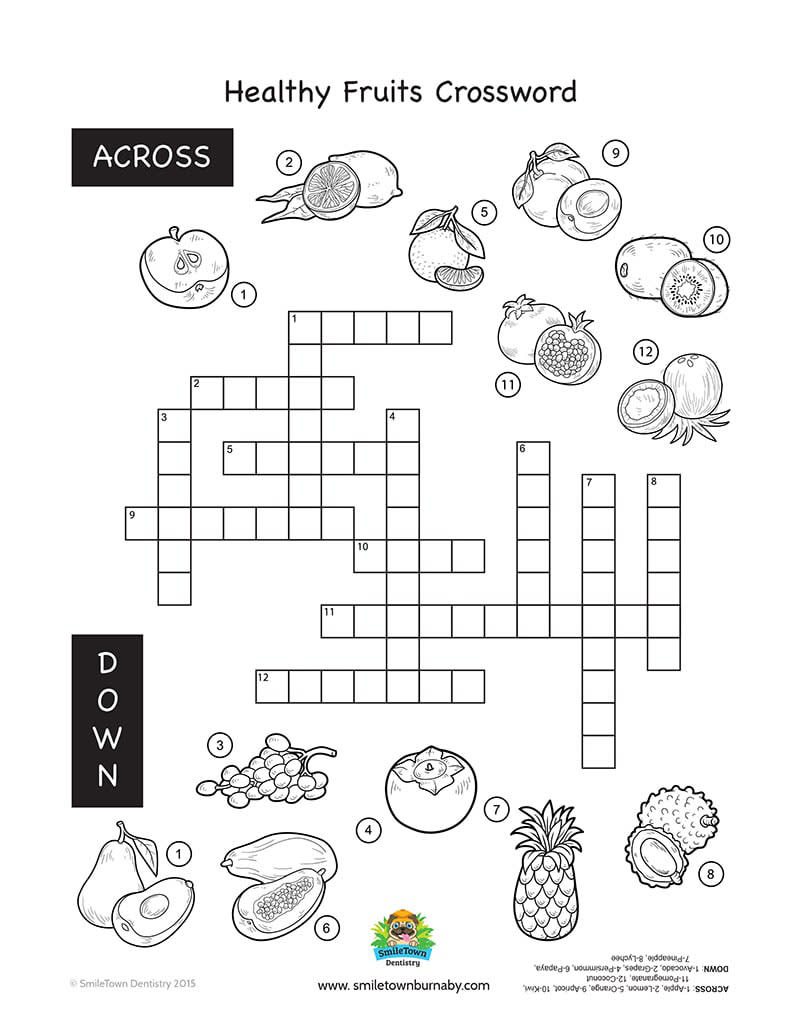 Nutrition Crossword Puzzle Answers Activity 7