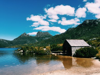 Cradle Mountain, boat shed and Dove Lake