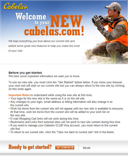 Welcome page for new Cabela's website