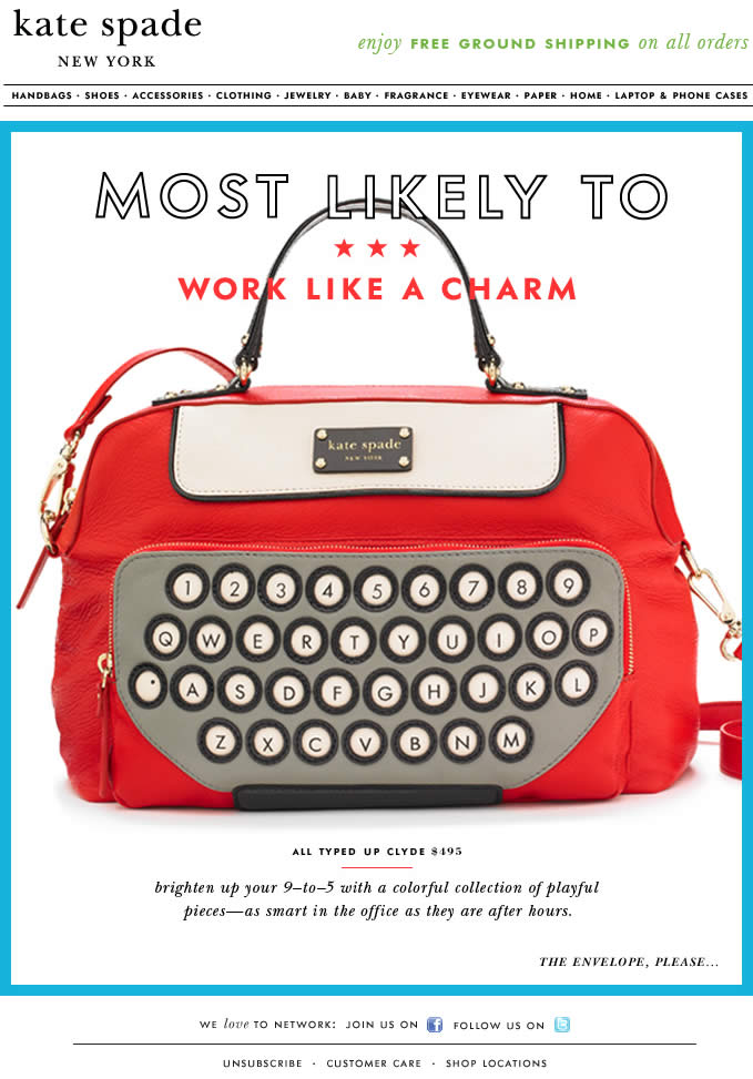 Most Likely To Work Like a Charm Kate Spade email