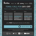 Final Call for 20% Off Boden email
