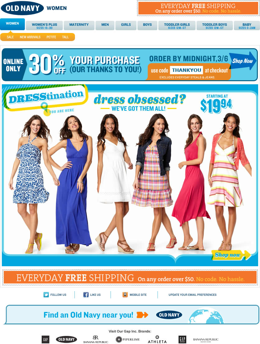 Old Navy email design: Dresstination