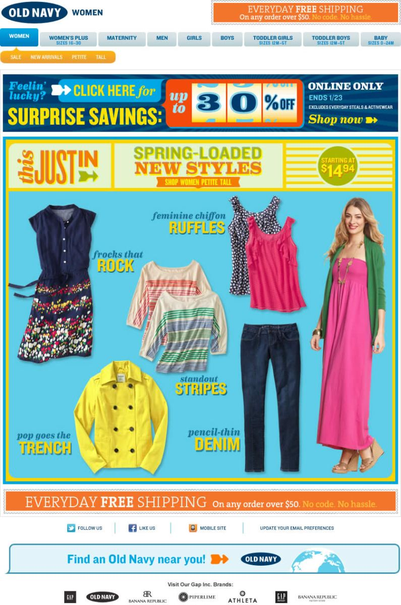 Old Navy email design: Just In
