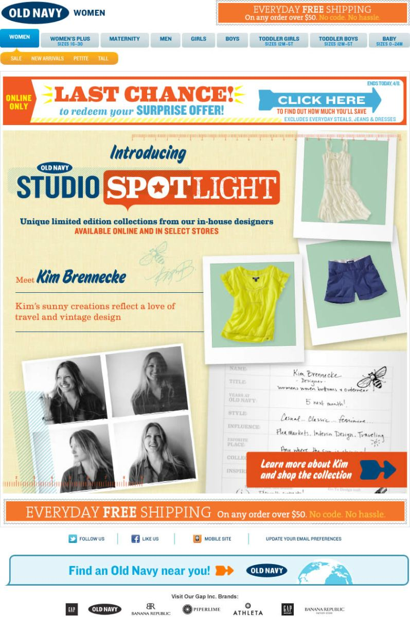 Old Navy email design: Studio Spotlight