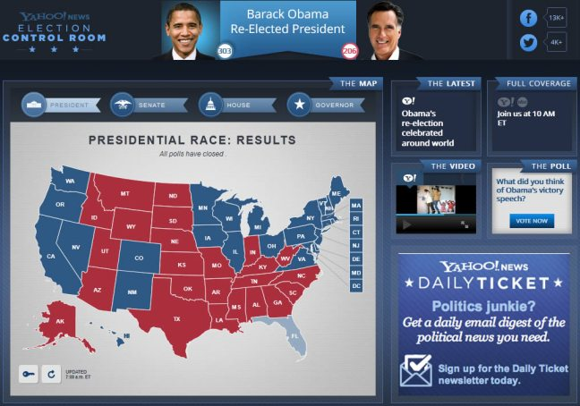 Yahoo! 2012 US Presidential Election Results Map