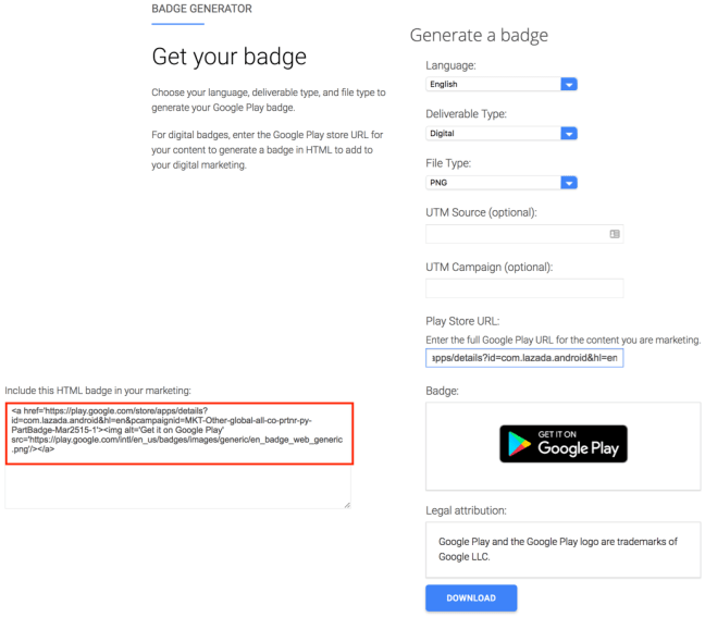 Google Play Android App Badge Generator