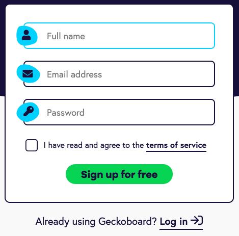 Geckoboard signup form design