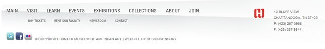 Hunter Museum of American Art website footer design example