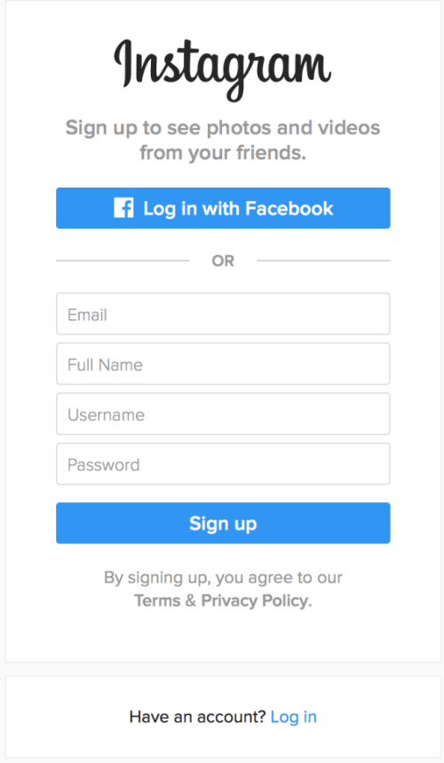 Instagram desktop website signup form