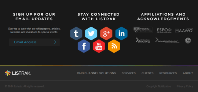 Listrak website footer design example