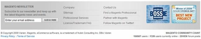 Magento website footer design example