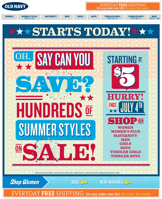Old Navy retail email example
